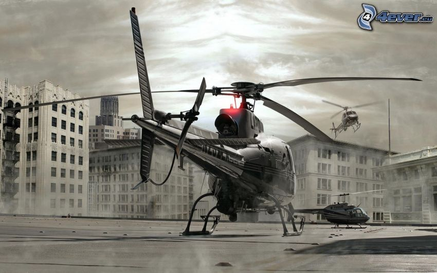 helikopter, svartvitt foto