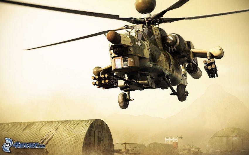 Mil Mi-28, militär helikopter, bas