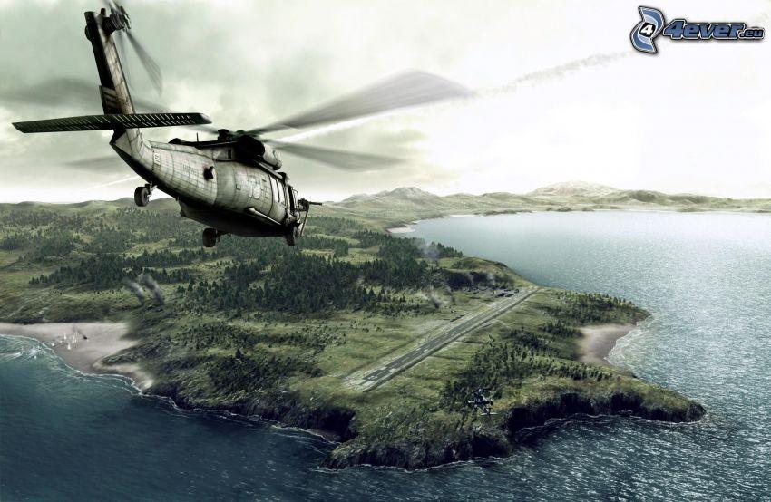 militär helikopter, ö, hav