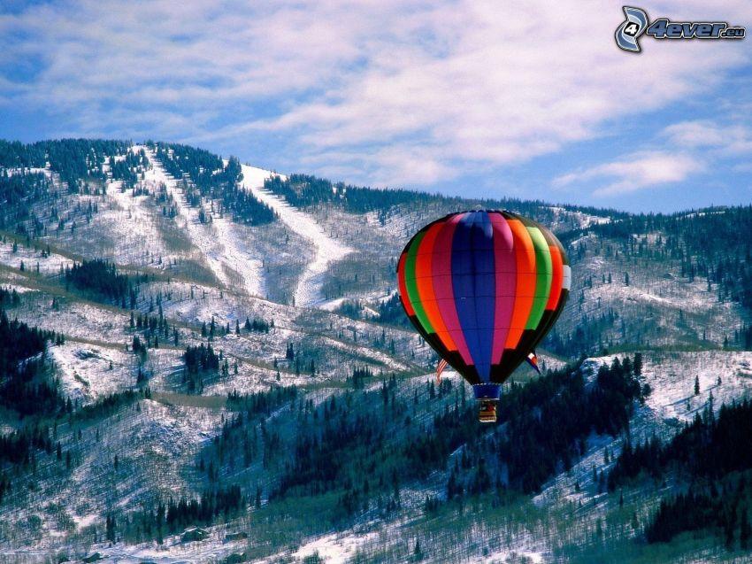 luftballong, snöigt landskap, skog