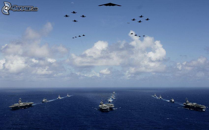 marin och flygvapen, formation, hangarfartyg, B-2 Spirit