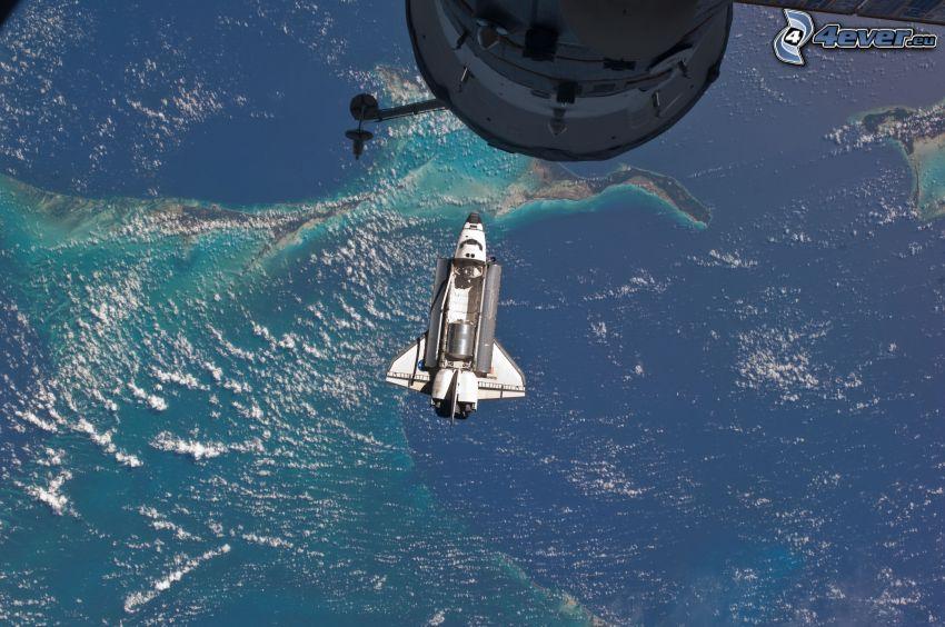 rymdfärjan Atlantis, Internationella rymdstationen ISS, universum, Jorden, STS 135
