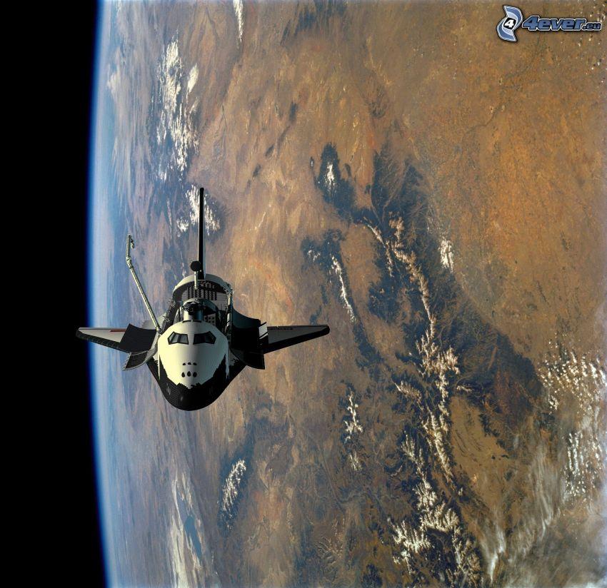 rymdfärjan Buran i omloppsbanan, planeten Jorden