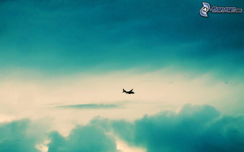 silhuett av flygplan, himmel