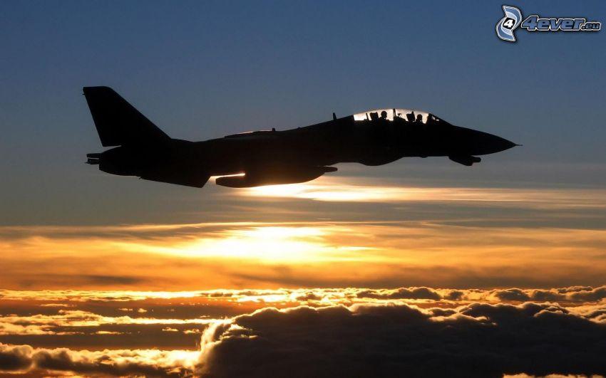 F-14 Tomcat, silhuett av jetplan, moln, flygplan vid solnedgången