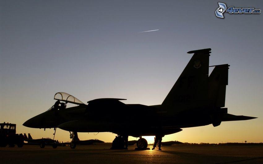 F-15 Eagle, McDonnell Douglas, silhuett av jetplan, flygplan vid solnedgången