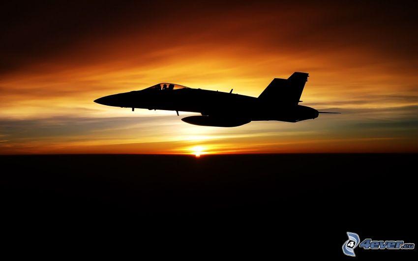F/A-18 Hornet, McDonnell Douglas, solnedgång, flygplan vid solnedgången, silhuett av jetplan
