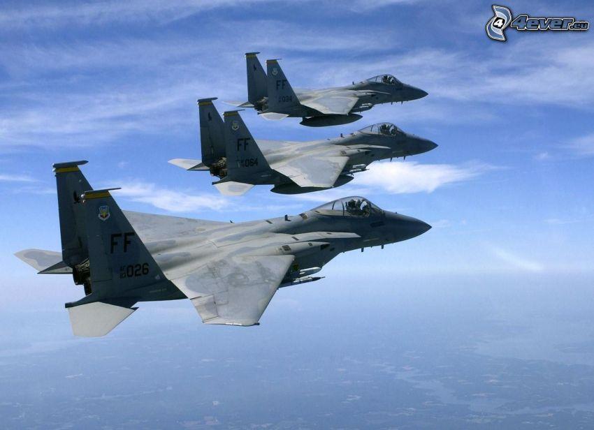 Jaktplan F-15 Eagle, formation, jaktplan, himmel