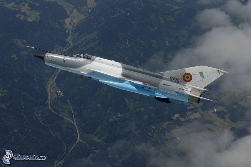 MiG-21, utsikt över landskap
