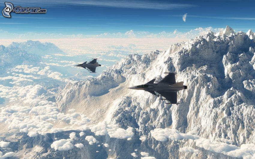 Saab JAS 39 Gripen, snöigt berg, ovanför molnen