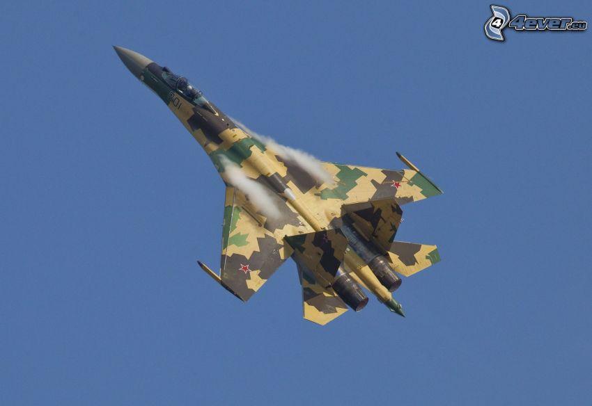 Sukhoi Su-35S, ljudvall, blå himmel
