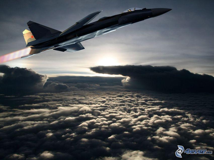 Sukhoi Su-47, ovanför molnen, moln