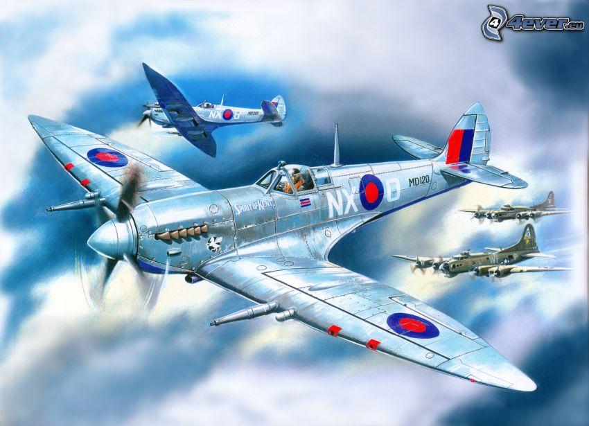 Supermarine Spitfire, tecknat