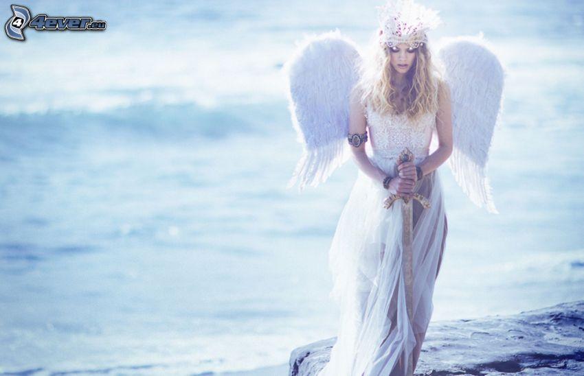 ängel, kvinna vid havet, svärd