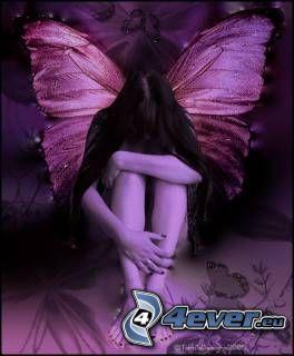ängel, tjej, emo, fe, fjäril