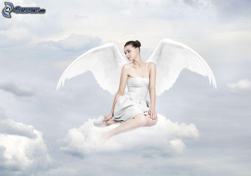 ängel, vingar, moln