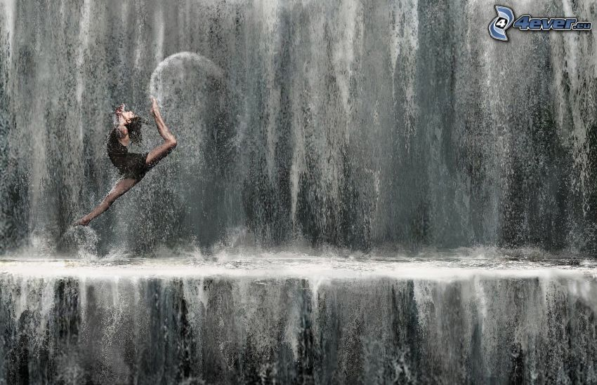 balettdansös, hopp, vattenfall