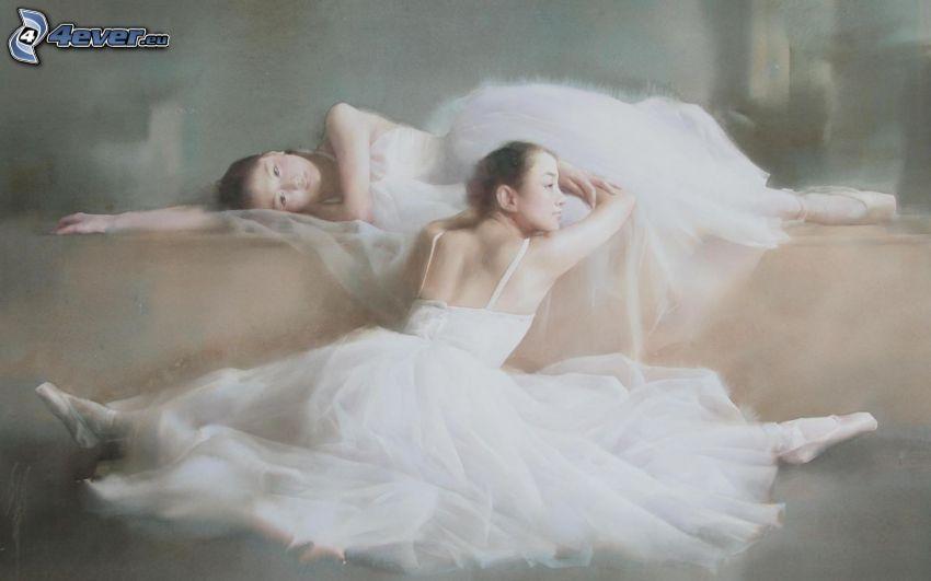 ballerinor, kjol, tecknat
