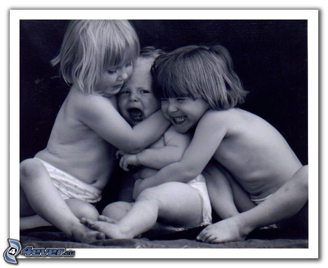 barn, trekant, skratt