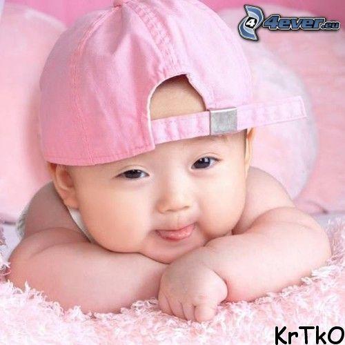 bebis, mössa, säng, filt