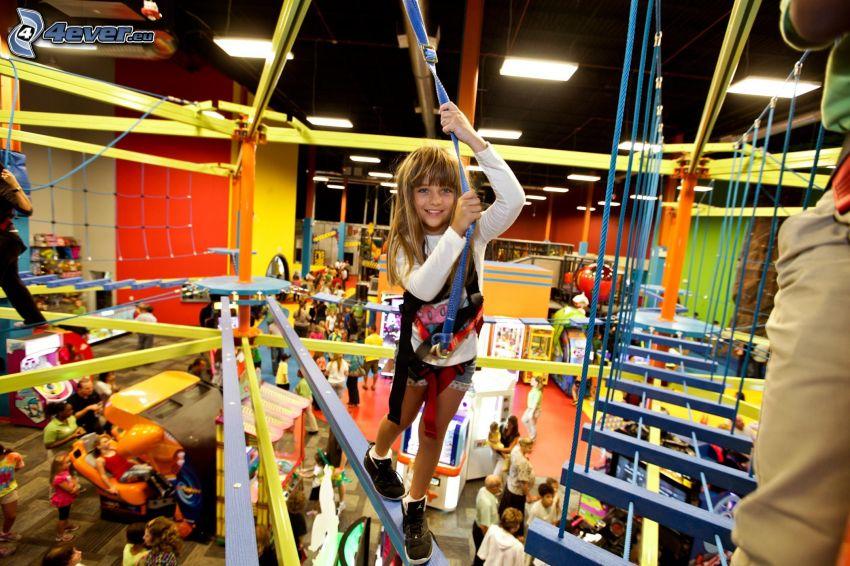 flicka, barn, klätterställning