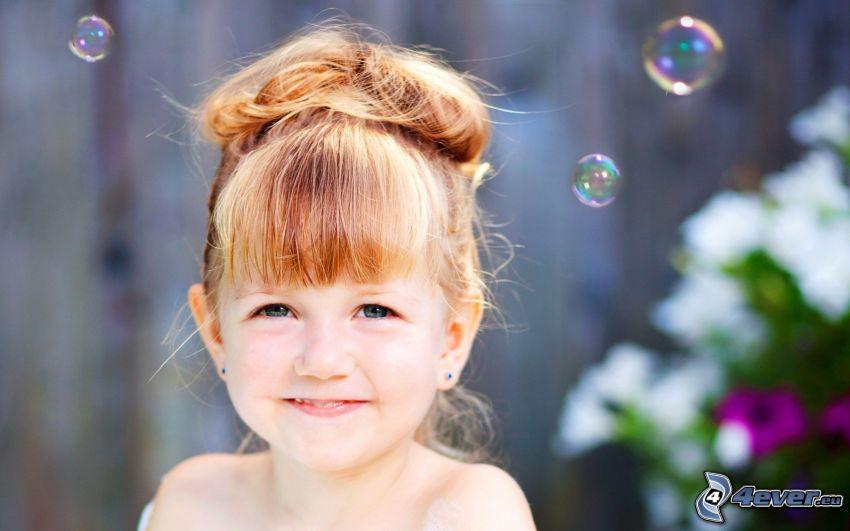 flicka, bubblor