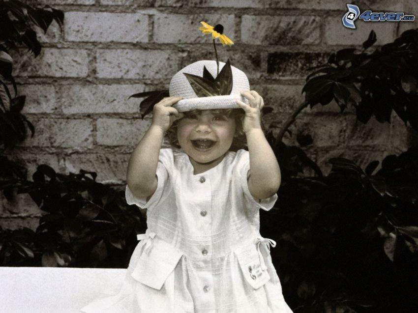 flicka, hatt, gul blomma