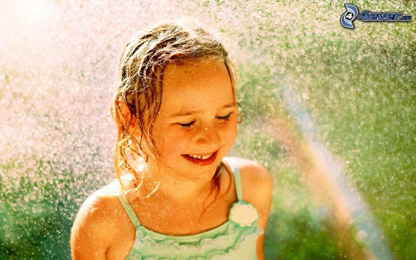 flicka, leende, regn, regnbåge