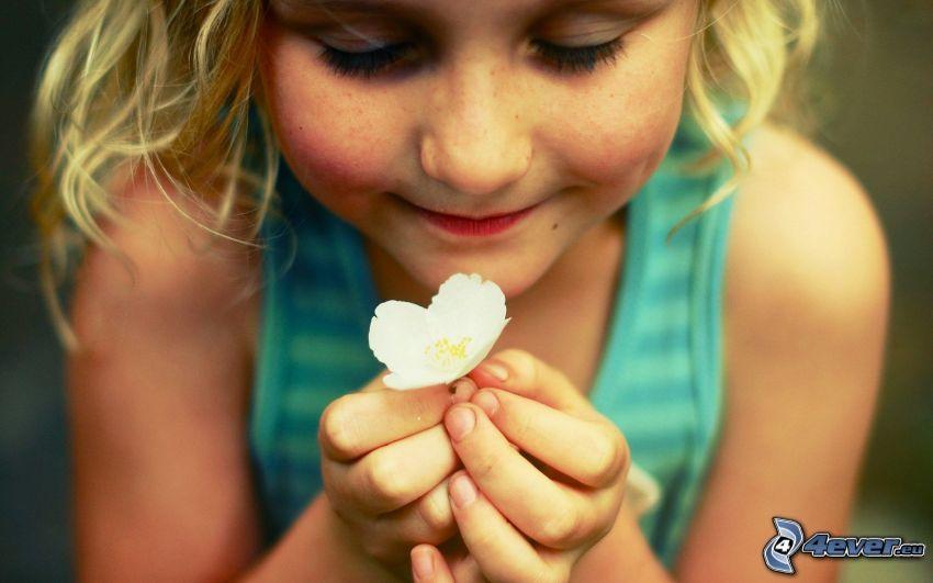 flicka, vit blomma