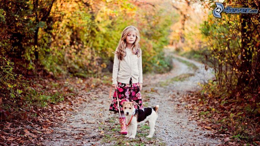 flicka med hund, Jack Russell Terrier, stig