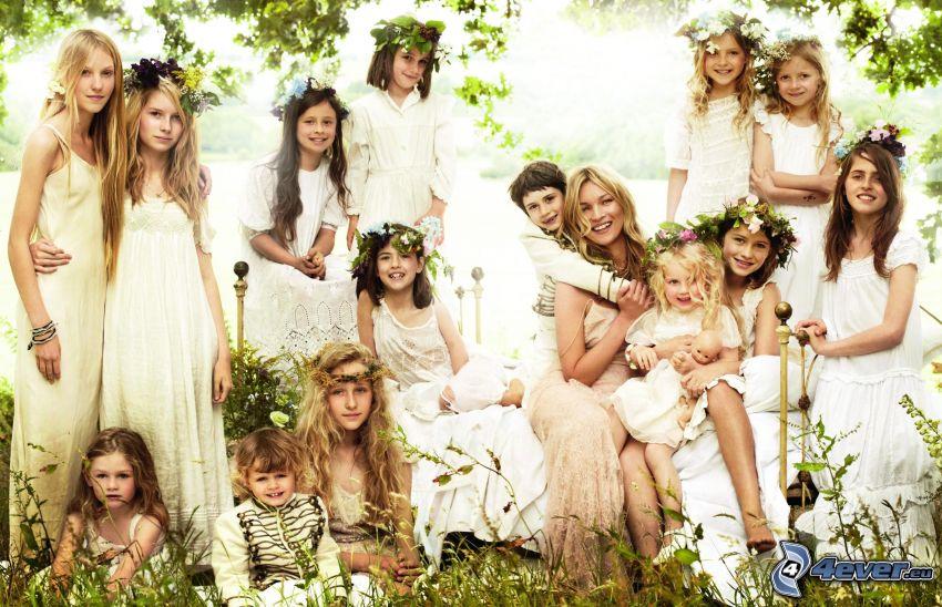flickor, vit klänning