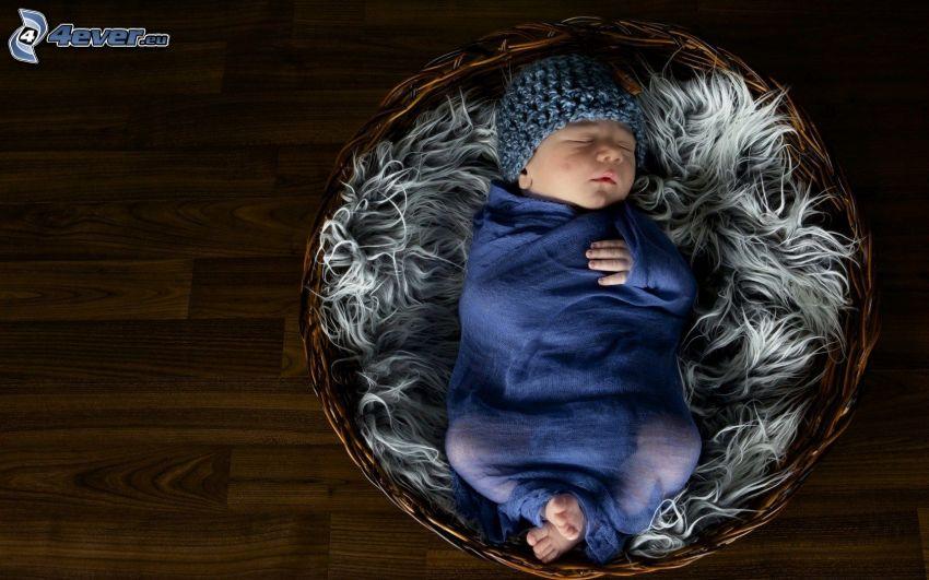 sovande barn, bebis, korg