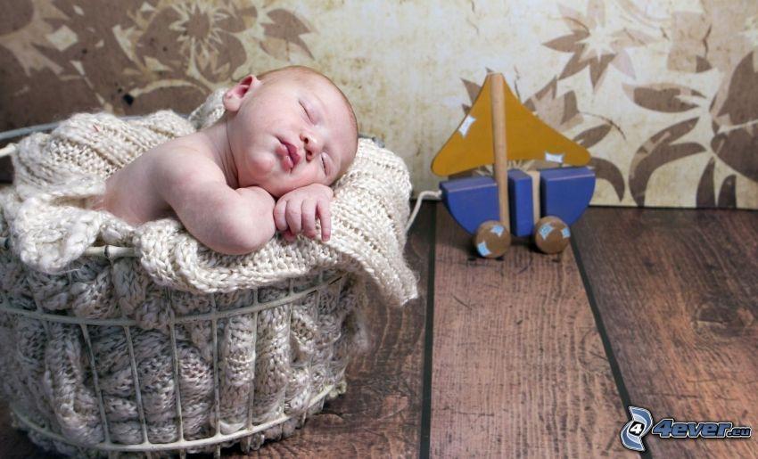 sovande barn, bebis, leksak