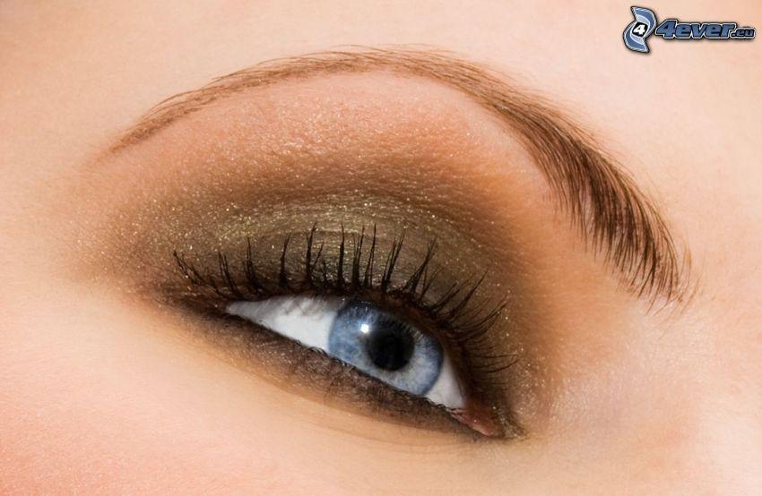 blå ögon, ögonbryn