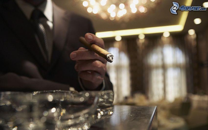 cigarr, man i kostym
