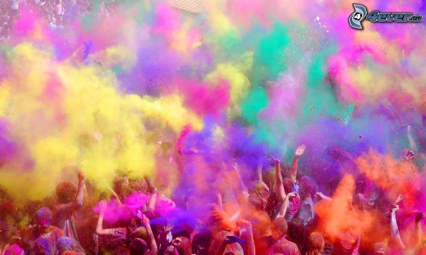 färger, folkmassa, glädje