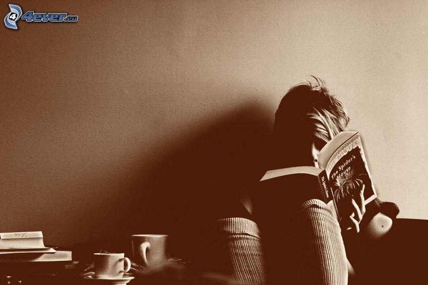 flicka med bok, koppar