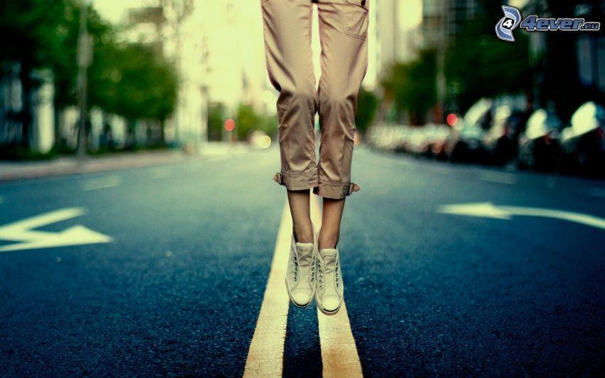 flickben, hopp, väg, slank kvinna