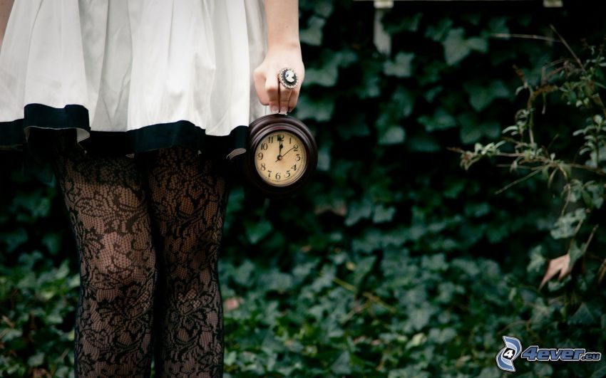 flickben, klocka, grönska