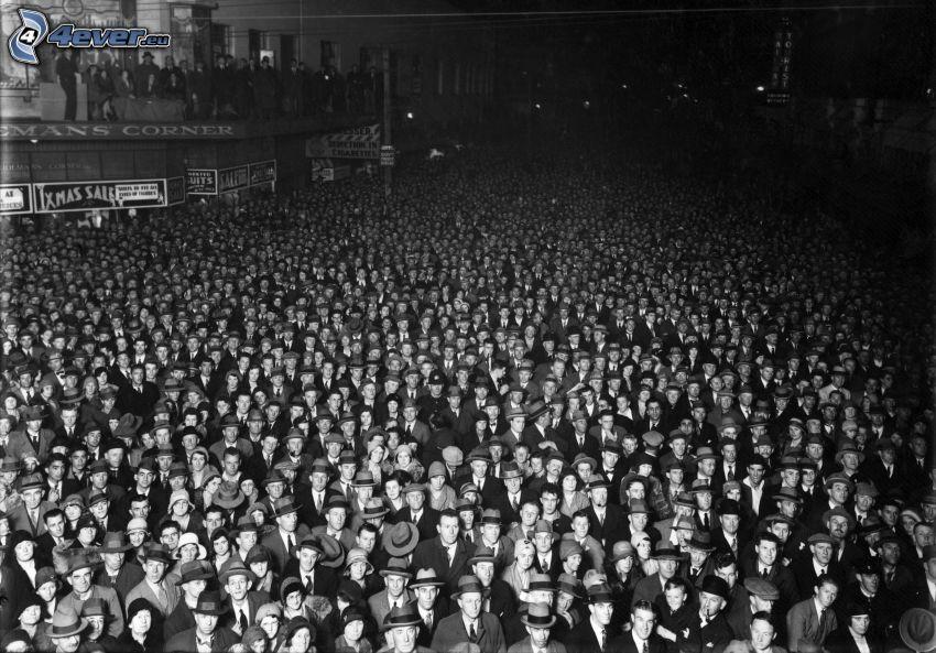 folkmassa, svartvitt foto, gammalt foto