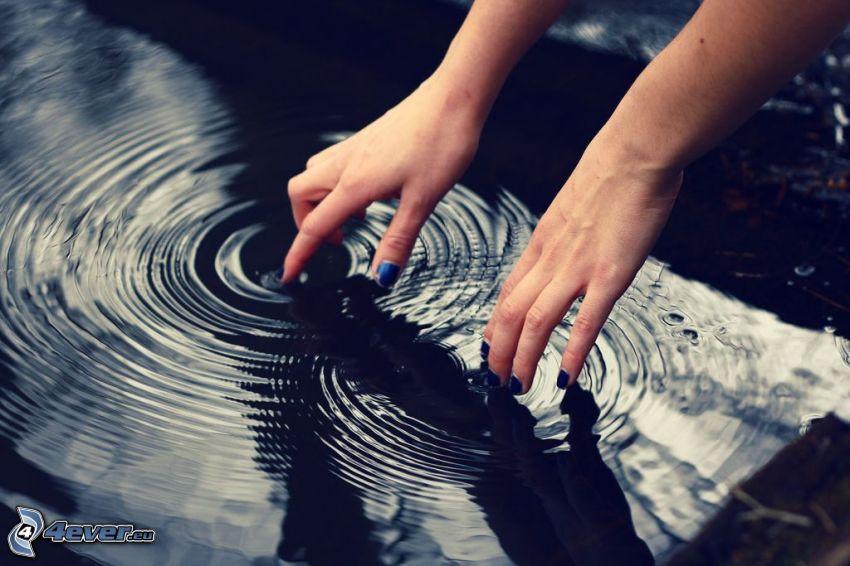 händer, droppande, vattenyta