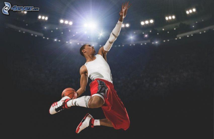 basketbollsspelare, mörkhyad man, hopp, boll