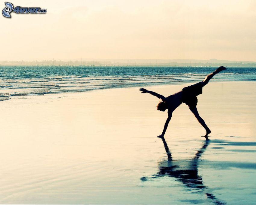 kille, hav, strand, silhuett