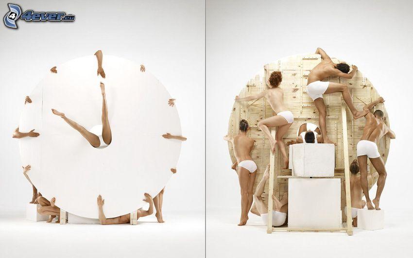klocka, människor, konst