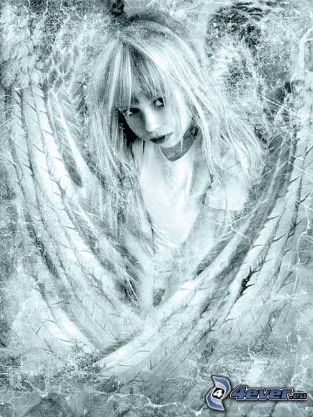ängel, barn, frost