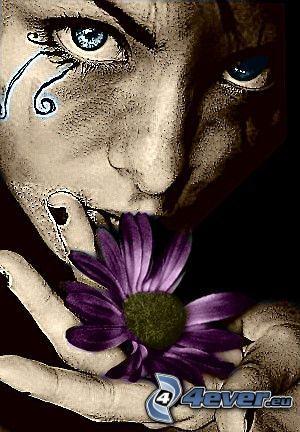ansikte, blomma