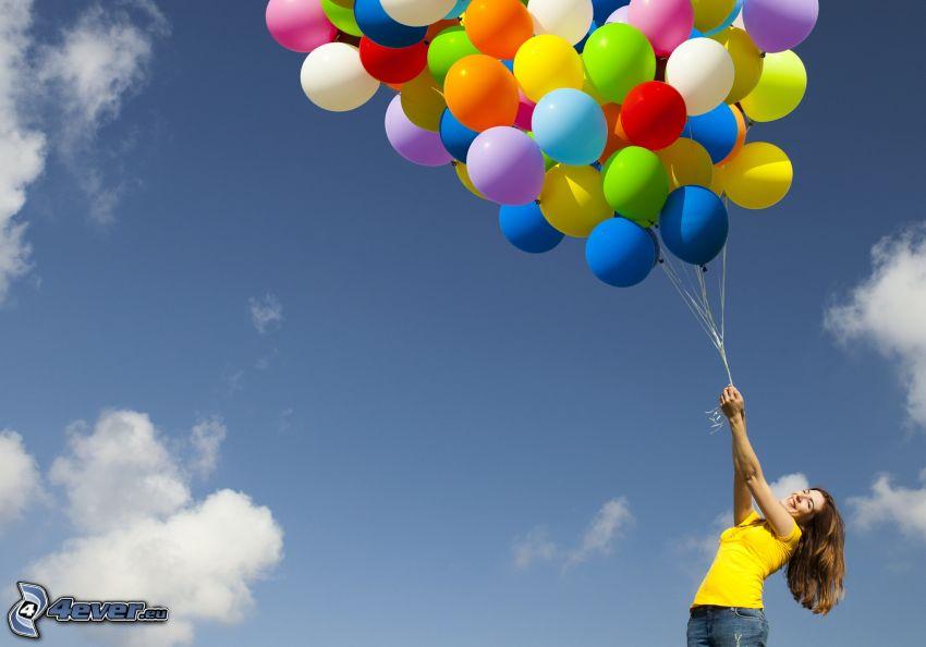 ballonger, kvinna, glädje
