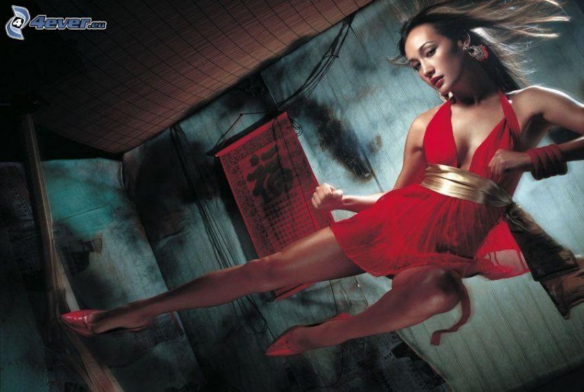 brunett, röd klänning