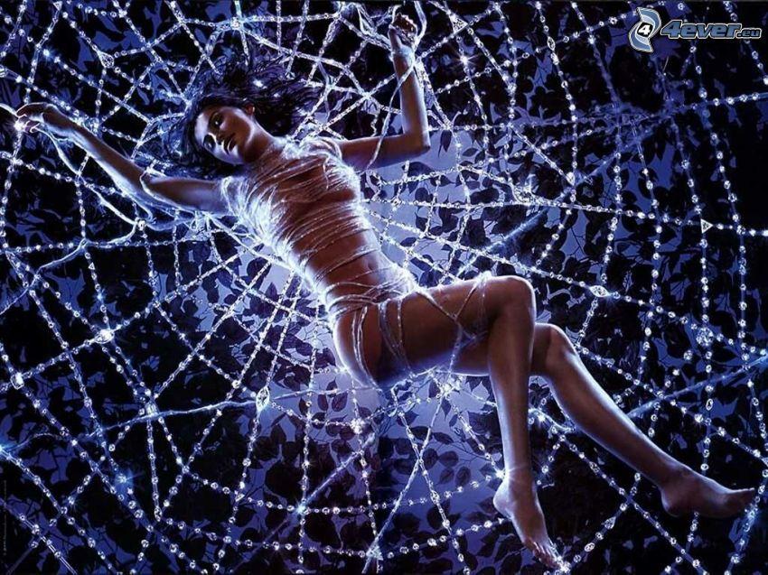 bunden kvinna, spindelnät