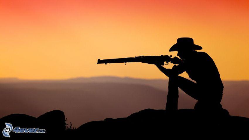 cowboy, silhuett, gevär